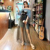 俏皮套裝女兩件套夏季韓版一字領漏肩蝴蝶結T恤裙 高腰網紗半身裙