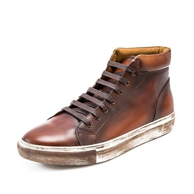 中筒靴真皮-繫帶時尚休閒擦色做舊男靴子2色73kk17【巴黎精品】