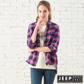 【JEEP】女裝 經典格紋寬版長袖襯衫 (桃紅藍格)