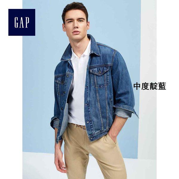 Gap男裝 純棉基本款百搭中度靛藍水洗牛仔夾克 178083-中度靛藍