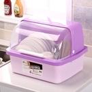 新品碗櫃廚房放碗櫃塑料碗架瀝水架帶蓋家用...