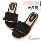 大尺碼鞋 拖鞋 甜美荷葉邊絨布平底拖鞋-黑