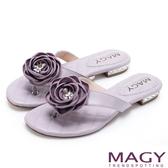MAGY 夏日休閒甜美款 玫瑰羊皮跟鑽夾腳拖鞋-紫色