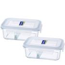 挖寶清倉贈品Glasslock強化玻璃微波保鮮盒2入670ml分格系列R0080