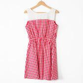 【MASTINA】格紋無袖收腰洋裝-紅 好康優惠