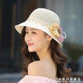 遮陽帽帽子女夏天草帽花朵遮陽帽夏季可摺疊太陽帽防曬沙灘帽遮臉韓版潮 科炫數位
