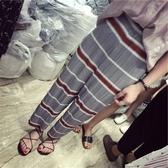 哈倫褲-橫條皺褶時尚寬鬆女雪紡長褲2色73fp17【巴黎精品】