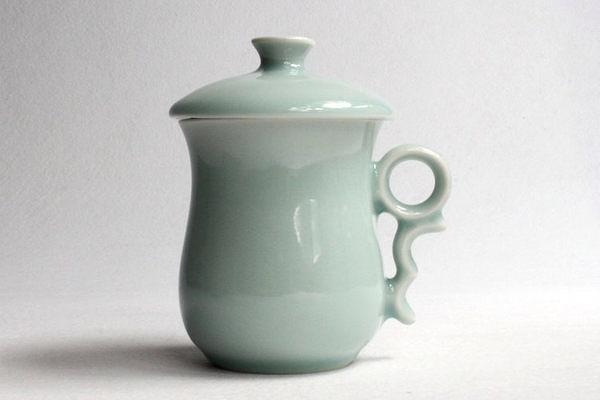 茶杯水杯系列辦公杯 靜心杯粉青
