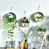 創意墻面上裝飾品壁掛田園墻壁臥室房間花卉仿真植物花盆壁飾花籃LX春季新品
