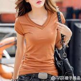 夏季新款純白色V領顯瘦短袖t恤女時尚棉質半袖打底衫女裝上衣服潮      橙子精品