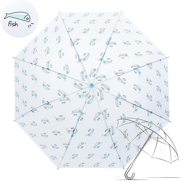 樂嫚妮 自動開傘/直立雨傘-藍魚