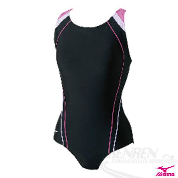 MIZUNO美津濃 SWIM FITNESS WOMEN S連身泳衣。(黑*粉紅)B85AI31498