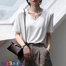 短袖T恤 素色T恤白色v領短袖t恤女2021年新款寬鬆莫代爾打底衫內搭半袖純色上衣潮【寶貝 上新】