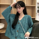 針織外套 墨綠色毛衣女秋冬外穿韓版寬鬆上衣新款針織衫加厚開衫外套春 雙十二全館免運