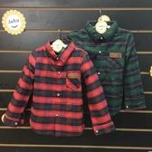☆棒棒糖 ☆(57318 ) 男童氣質小皮章格子長袖襯衫5 -15 綠;紅