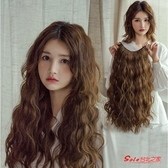 假髮片 女中長髮長捲髮大波浪網紅羊毛捲無痕U型漸變玉米燙半頭套 4色