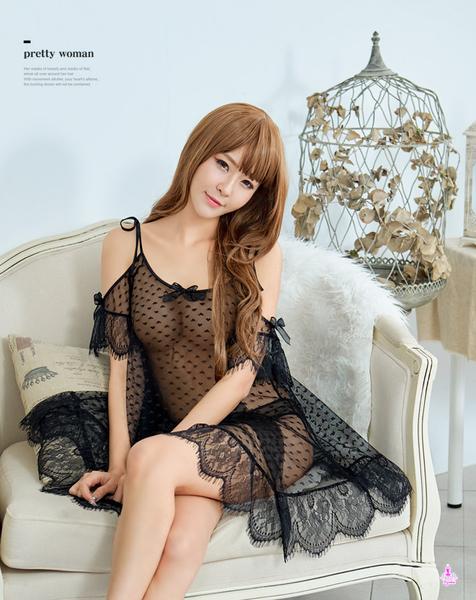睡衣 性感睡衣 星光密碼【M058】 飄逸黑蕾絲透視薄紗二件式連身性感睡衣