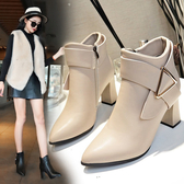 2020秋冬季新款時尚高跟短靴女粗跟尖頭顯瘦百搭短筒及踝靴馬丁靴