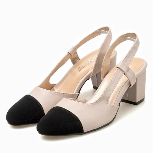 高跟鞋.MIT小香風拼接後簍空粗跟包鞋.白鳥麗子