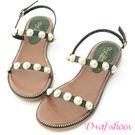 涼鞋 D+AF 人魚眼淚.精緻珍珠飾釦一字涼鞋*綠