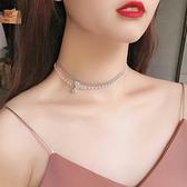 網紅小 設計珍珠項鍊女潮韓版鎖骨鍊個性氣質短款脖子飾品頸帶