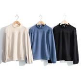 秋冬7折[H2O]蕾絲拼接棉絨毛小高領針織上衣 - 黑/卡/淺藍色 #0631009