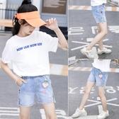 女童牛仔短褲新款夏裝洋氣中大童兒童夏季熱褲外穿百搭褲子薄 快速出貨