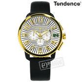 Tendence 天勢表 / TY460016 / 立體時標 礦石強化玻璃 計時功能 日期 防水100米 真皮手錶 白x金框x黑 46mm