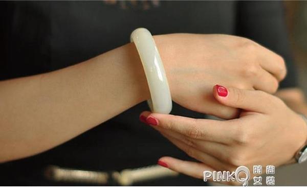新疆和田玉手鐲天然昆侖羊脂白玉 手鐲玉鐲子女款  (pink Q 時尚女裝)