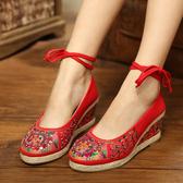 民族風繡花鞋低筒老北京女布鞋坡跟秀禾婚鞋紅帆布單鞋漢服媽媽鞋