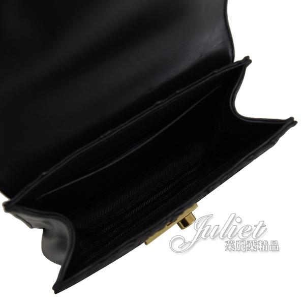 茱麗葉精品【全新現貨】PRADA 1BD211 經典皺褶小牛皮金鍊包.黑