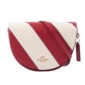 【COACH】ELLEN 拼色條紋馬鞍造型斜背包(紅色/白色) C1429 IMS3U
