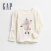 Gap女幼童 創意立體印花圓領長袖T恤 651694-女孩圖案