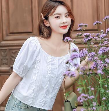 木耳邊泡泡袖短款小清新減齡方領短上衣開衫1385#D4B412-A1紅粉佳人