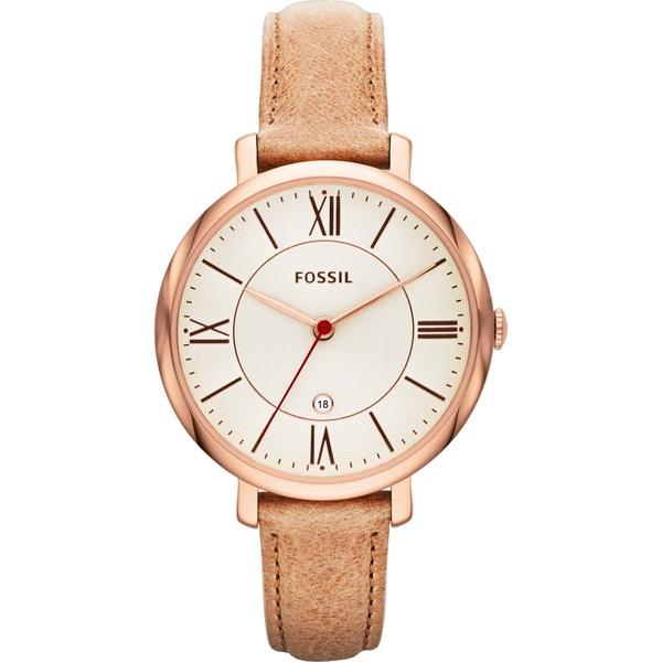 FOSSIL 羅馬風尚仕女手錶-銀x卡其 ES3487