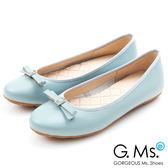 G.Ms. MIT系列-牛皮鑽釦皮帶蝴蝶結娃娃鞋*淺藍