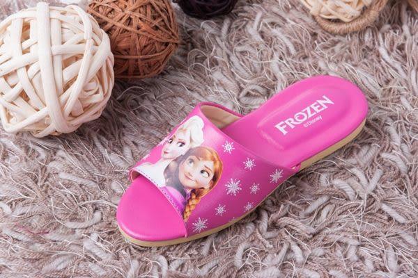 迪士尼FROZEN冰雪奇緣大人兒童室內拖鞋(安娜艾莎桃紅色一雙)
