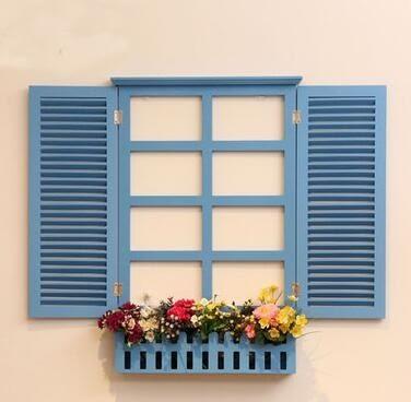 【時尚麥包精品館】特價家居地中海風格掛飾歐式百葉假窗戶壁挂件田園牆面牆上裝飾品