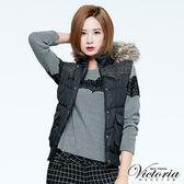 Victoria 毛呢配布絲棉背心-女-黑色