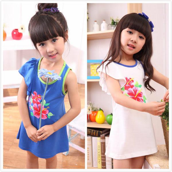 韓版《花朵荷葉袖》甜美清涼洋裝