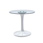 白色塑鋼造型玻璃圓桌(18SP/373-3)【DD House】