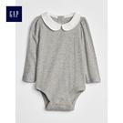 Gap女嬰兒 柔軟羅紋彼得潘領長袖包屁衣 497503-麻灰色