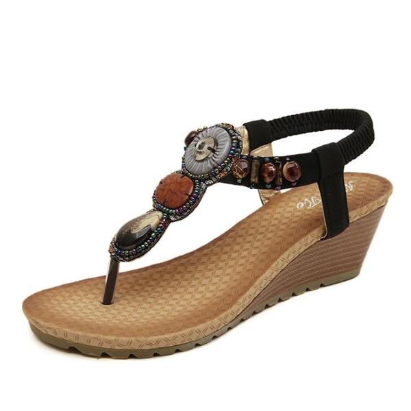 波西米亞民族風坡跟鞋 羅馬涼鞋串珠涼鞋【多多鞋包店】z7380