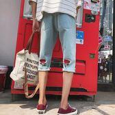 男士破洞牛仔短褲7分褲夏季薄款韓版修身七分寬鬆直筒五分褲男潮  野外之家