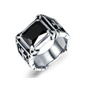 316L醫療鋼 復古十字 黑瑪瑙 寬版戒指-銀 防抗過敏 不退色