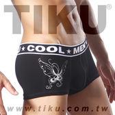 TIKU 梯酷 ~ 紋身系-黑蝶 棉質(含彈性纖維面料) 平口內褲(BC1815)