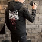夾克外套-連帽時尚後背印花休閒夾棉男外套3色73qa9【時尚巴黎】