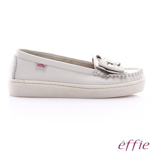 effie 縫線包仔鞋 大蝴蝶結彩色車線奈米休閒鞋  白