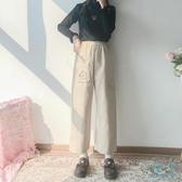 工裝褲 秋冬寬鬆可愛褲子女2019新款工裝褲卡通刺繡休閒卷邊直筒褲 十點一刻