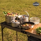 丹大戶外【KAZMI】三層304高級不鏽鋼鍋具組XL 湯鍋/煮飯鍋/平底鍋/煎鍋 K8T3K003